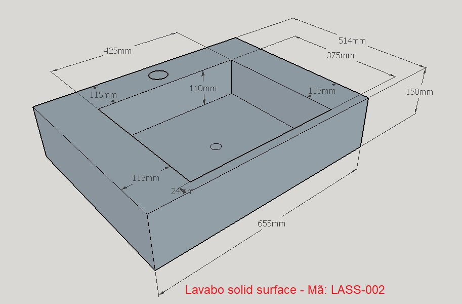 LASS-002 Lavabo solid surface liền khối